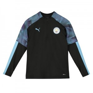 Manchester City 1/4 Zip Training Top - Black - Kids